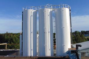 painted storage tank silo project in Brampton, Ontario
