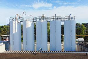 group of repainted storage tank silos in Ajax, Ontario