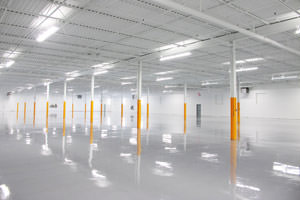 commercial painting ceiling, beams and epoxy floor in Ajax