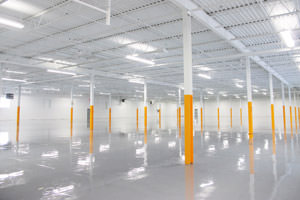 warehouse painting ceilings, beams and epoxy floor in Brantford