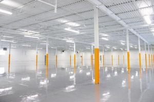 warehouse painting ceilings, beams and epoxy floor in Brantford