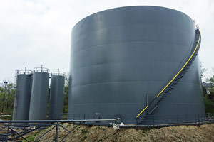 painted industrial liquid storage tanks in Hamilton