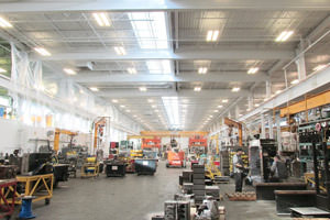 industrial painting metal ceiling in a Burlington factory
