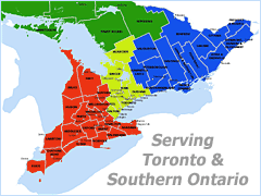 Toronto, Ontario, Brampton, Mississauga, Concord, Vaughan, Oakville, Kitchener, Cambridge, Guelph