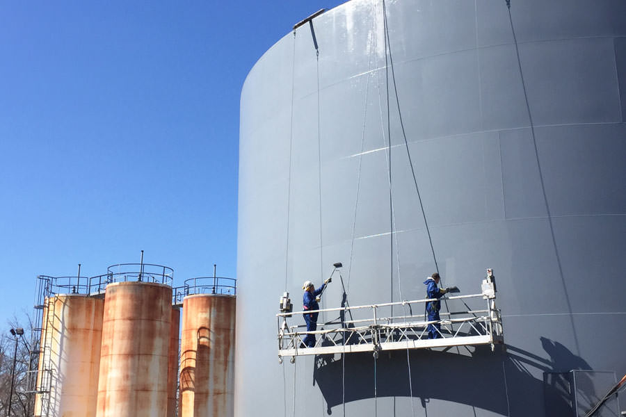 Silo bulk storage tank painting painters tank silo for Industrial paint for metal