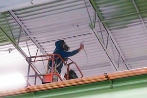 painting of a metal deck ceiling by a Kingston, Ontario industrial spray painter